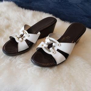 Made in Italy White Wedge Sandals Sz 8 Med